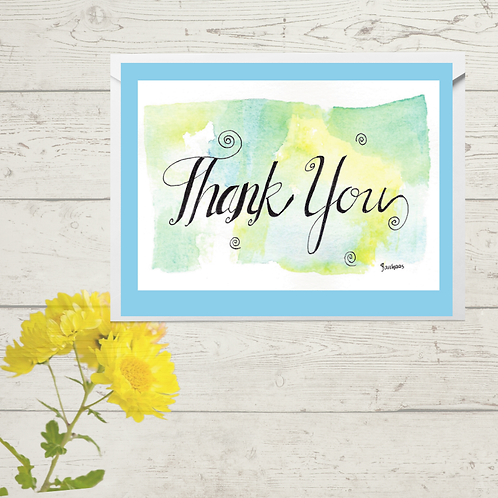 Thank you Blue Watercolor