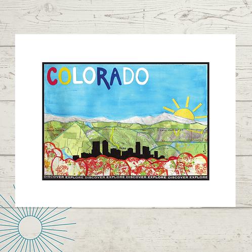 Colorado Denver Skyline Print