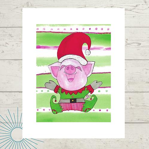 Holiday Pig Print