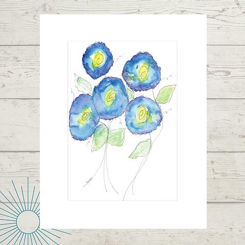 Floral Blue Print