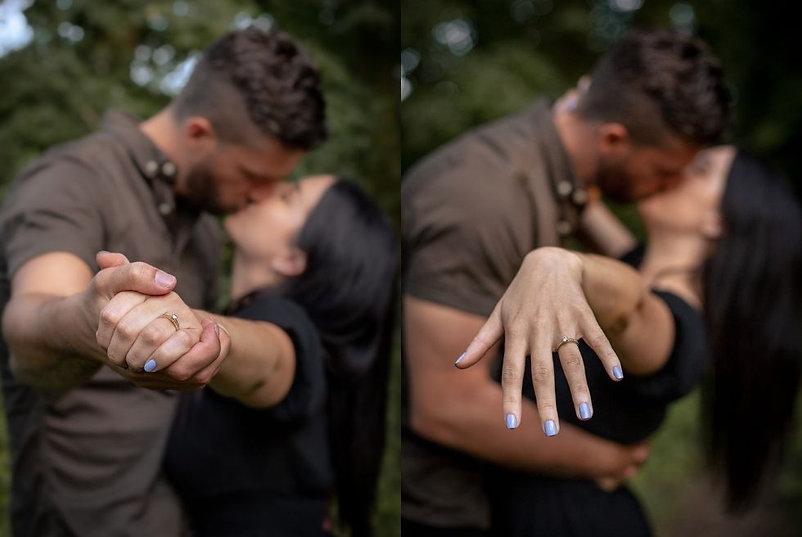 Couple kissing in love while showing off engagement ring at Hensol Forest in South Wales