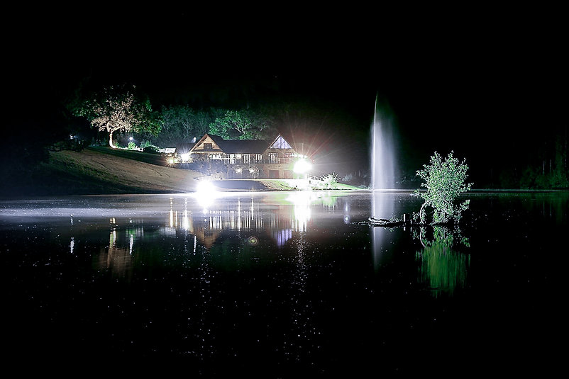 Nighttime at Canada Lodge and Lake near Cardiff, South Wales