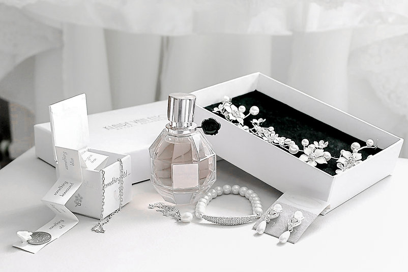 Important bridal details including perfume and sentimental jewellery
