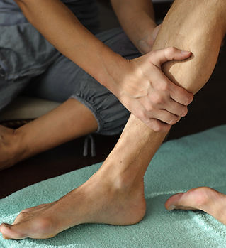 Physical therapy on leg