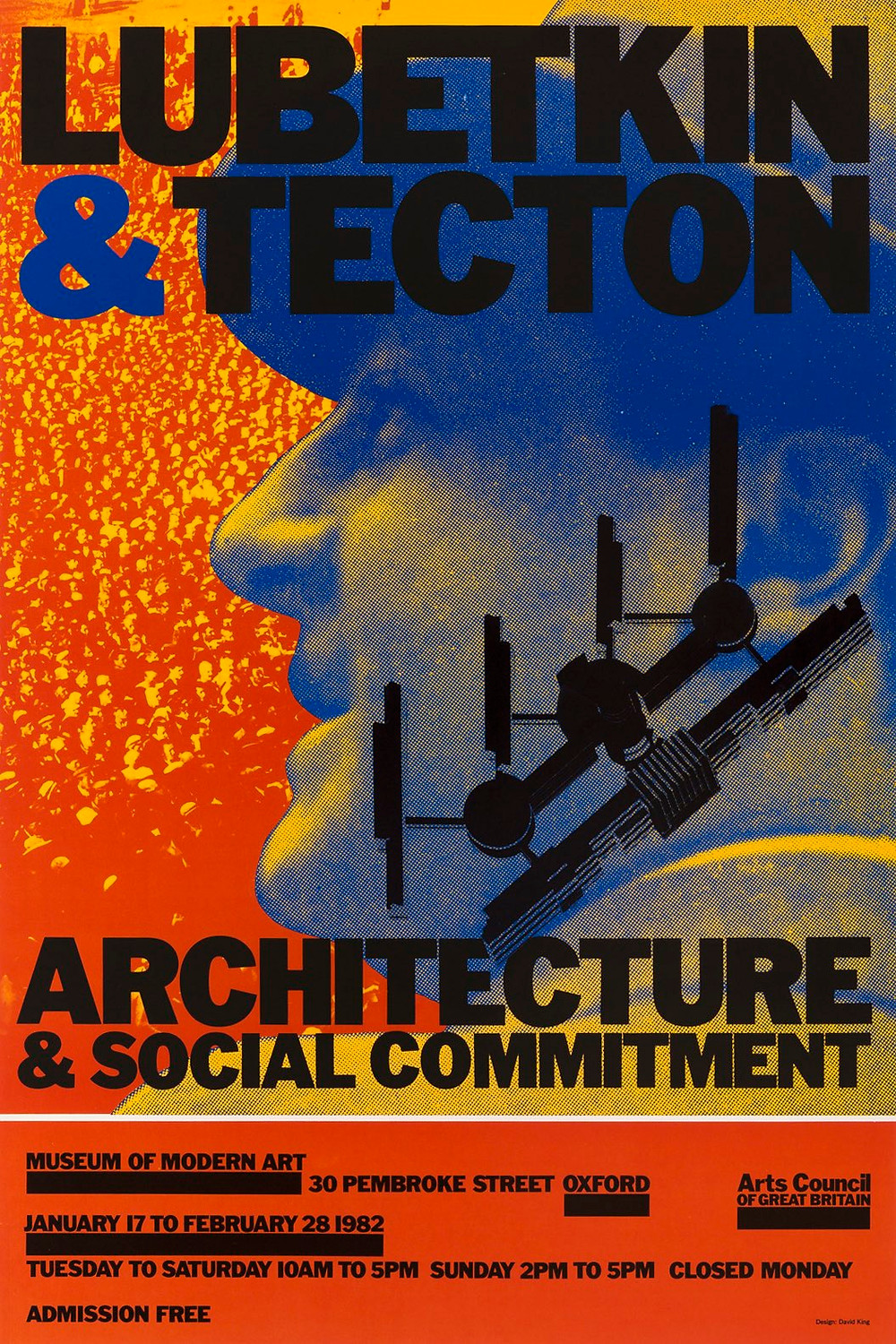 """""""Lubetkin & Tecton"""", poster by David King for Museum of Modern Art Oxford, 1982."""