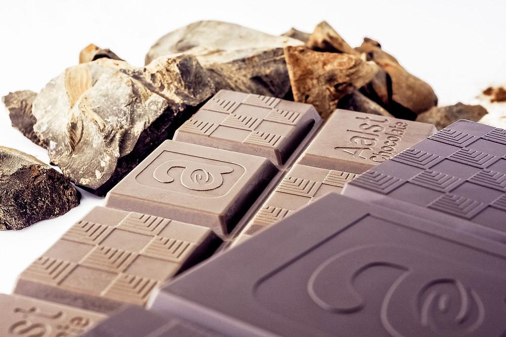 Chocolate bars and cocoa mass