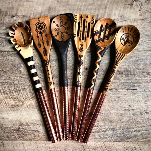 Hammered Copper Wood Burned Spoons