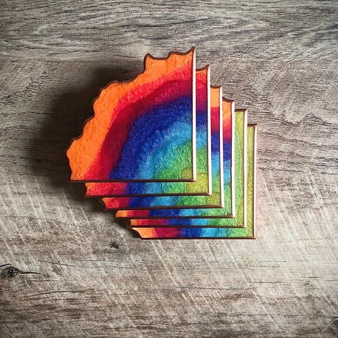 24 K Gold Edging Rainbow Stack