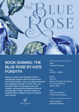 Kate Forsyth's book signing event poster and portrait of the author