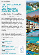 Invitation to the Inauguration of the New Caledonia Cultural Space in the Media Centre