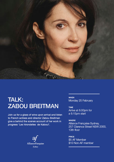 Poster for Zabou Breitman's event