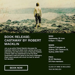 Electronic promotional material for Robert Macklin's book release event