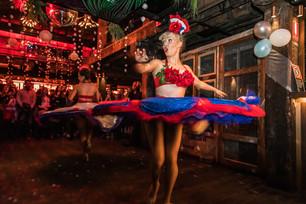 Cancan dancers, Bastille Day celebration at the Argyle