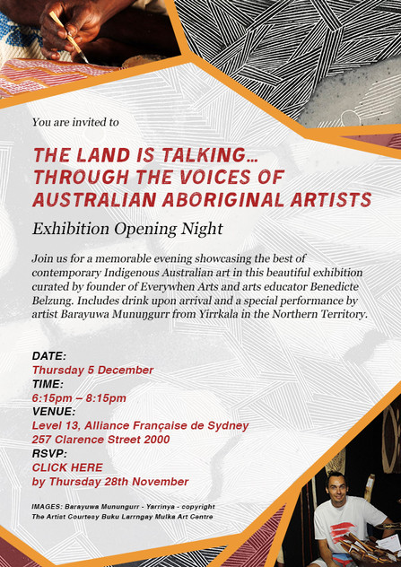 Invitation for the Australian Aboriginal Artist exhibition
