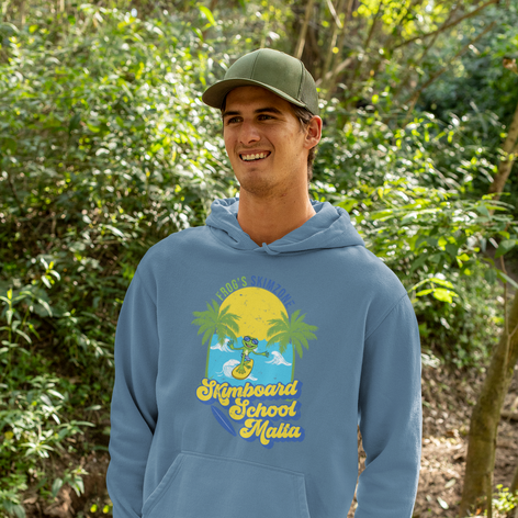 A happy friend wearing our new hoodie design