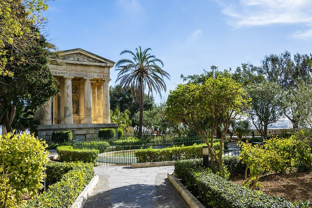 The Upper and Lower Barrakka Gardens located in Valletta, Malta.