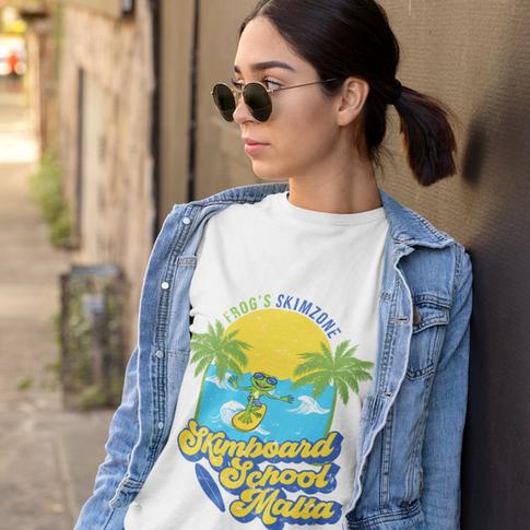 Athleisure t-shirt featuring a fancy Skimboard School Malta design