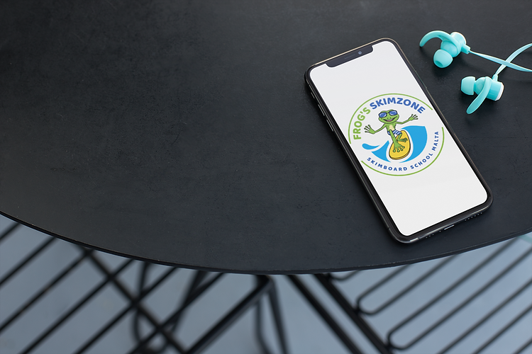 Android mobile phone app with Skimboard School Malta logo.
