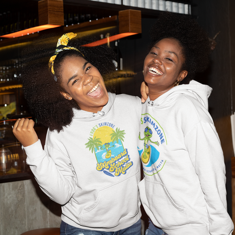 Two friends wearing our hoodie design