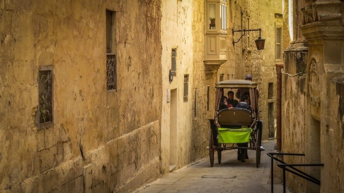 The small streets of the silent city of Malta, Mdina.