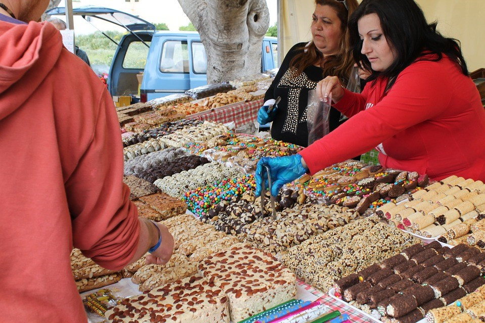 A sweet mini market in Malta with a wide range of sweets.