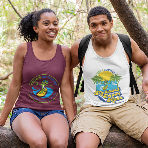Tank top of a funny hiker couple