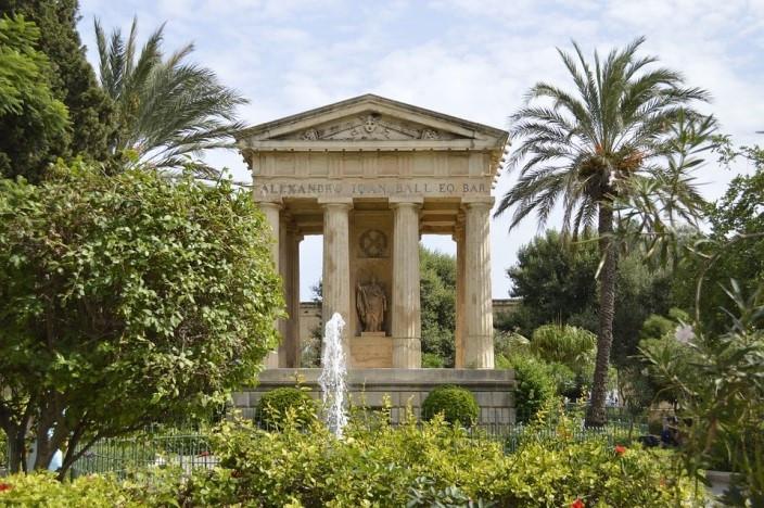 The Upper and Lower Barrakka Gardens located in Valletta, Malta.