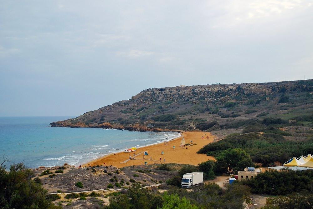 Ramla bay beach located in Gozo, Malta.
