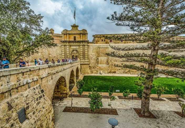 Mdina gate, entrance to the silent city of Malta.