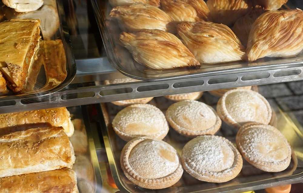 Famous Maltese pastizzi in a food shop.