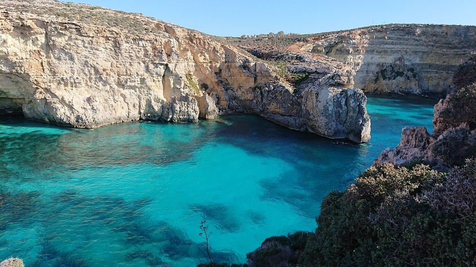 Amazing landscape in Gozo with view to the blue Mediterranean sea.