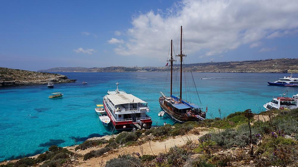 Blue lagoon on the island of Comino in Malta.
