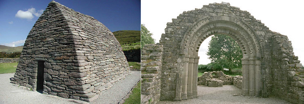 Example of an ancient Irish buidling using drywall technique before St Patrick introduced arches and lime mortar.