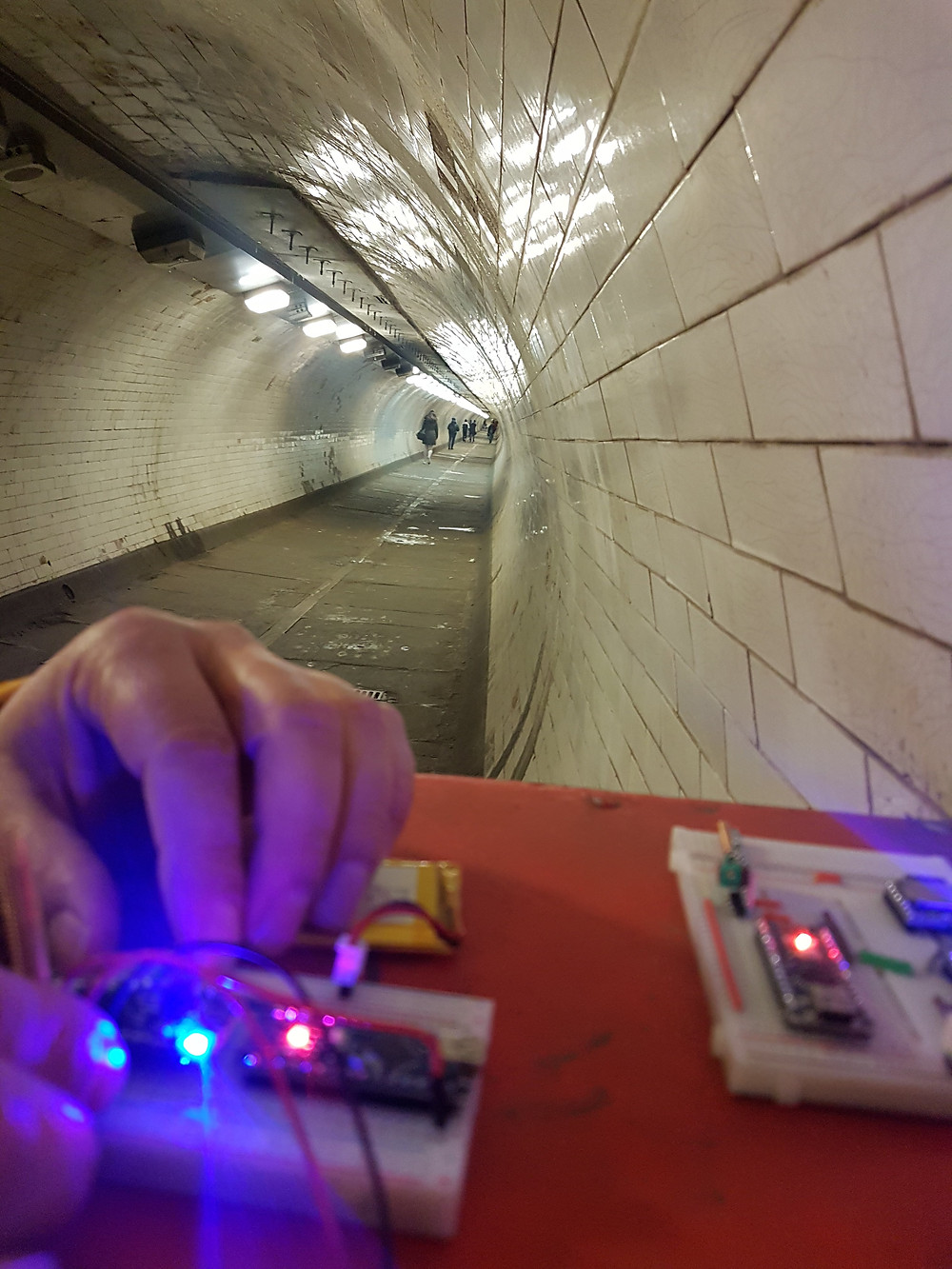 Electronics being tested in Greenwich Foot Tunnel for a sound art installation