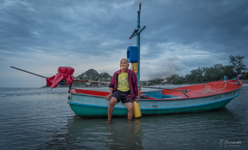Fisherman at Huahin, Thailand. 2016