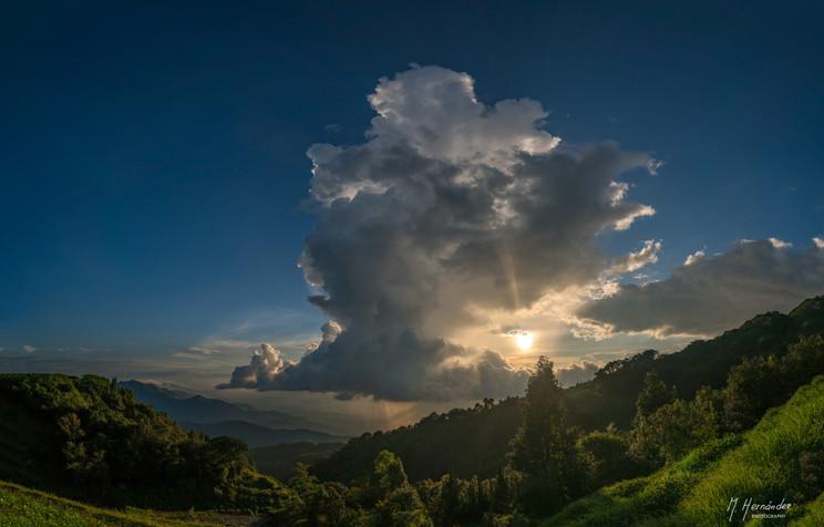 Sunset with some rain at Doi Inthanon, Thailand. 2017