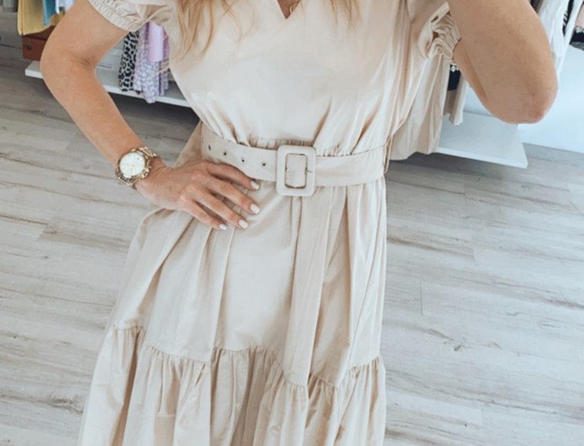 Φόρεμα μπεζ ποπλίνα