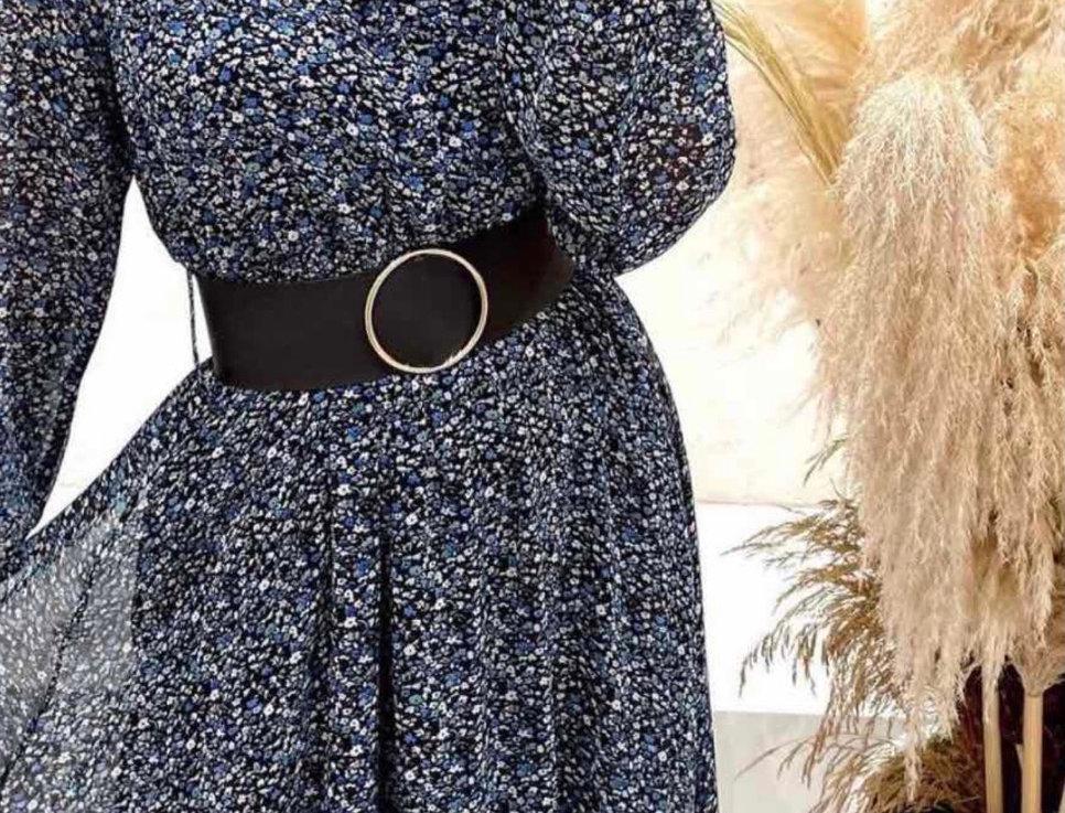 Φόρεμα floral μπλε  με ζώνη