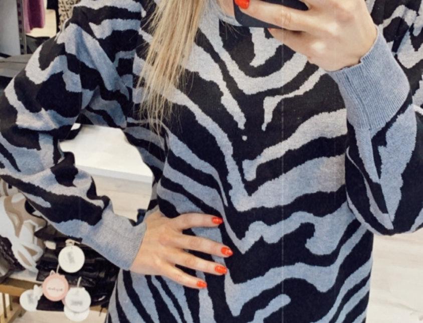 Πουλόβερ zebra γκρι