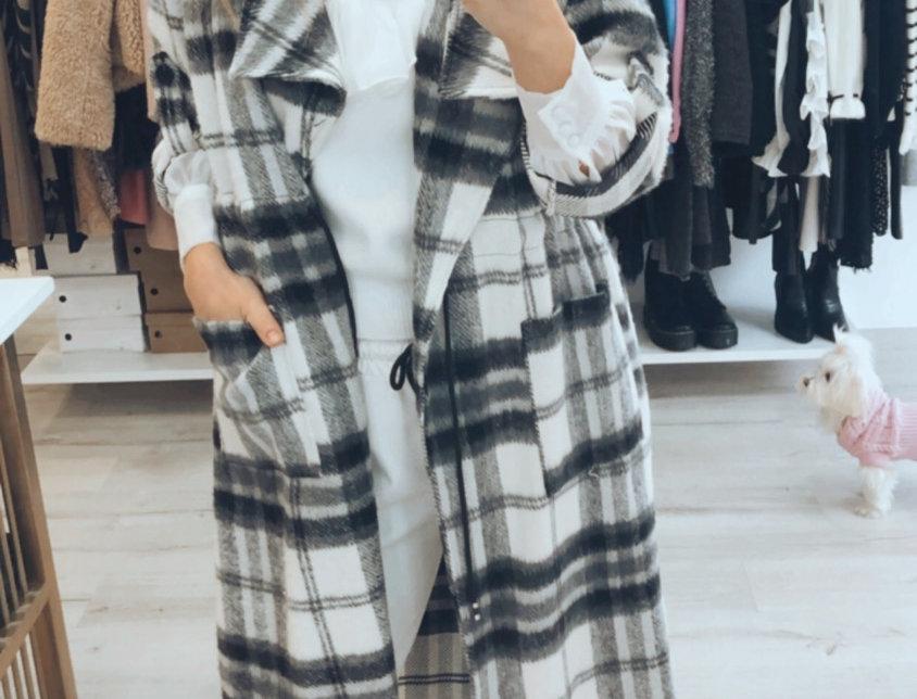 Παλτό καρό ασπρομαυρο