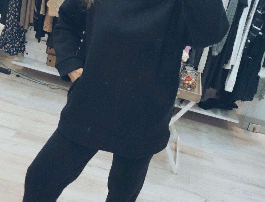 Μαύρη φόρμα σετ φουτερ