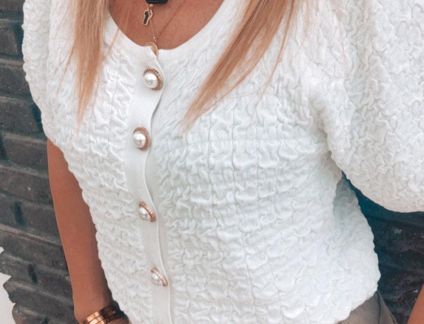 Ζακέτα άσπρη με περλα κουμπιά