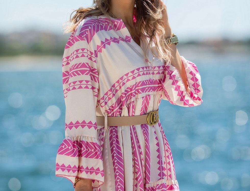 Φόρεμα maxi Claudia με ζώνη