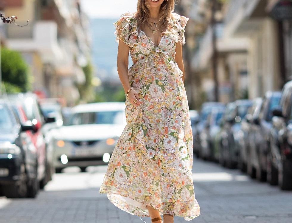 Φόρεμα εμπριμέ εξώπλατο
