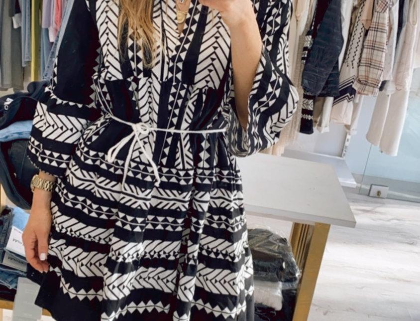 Φόρεμα ethnic ασπρόμαυρο