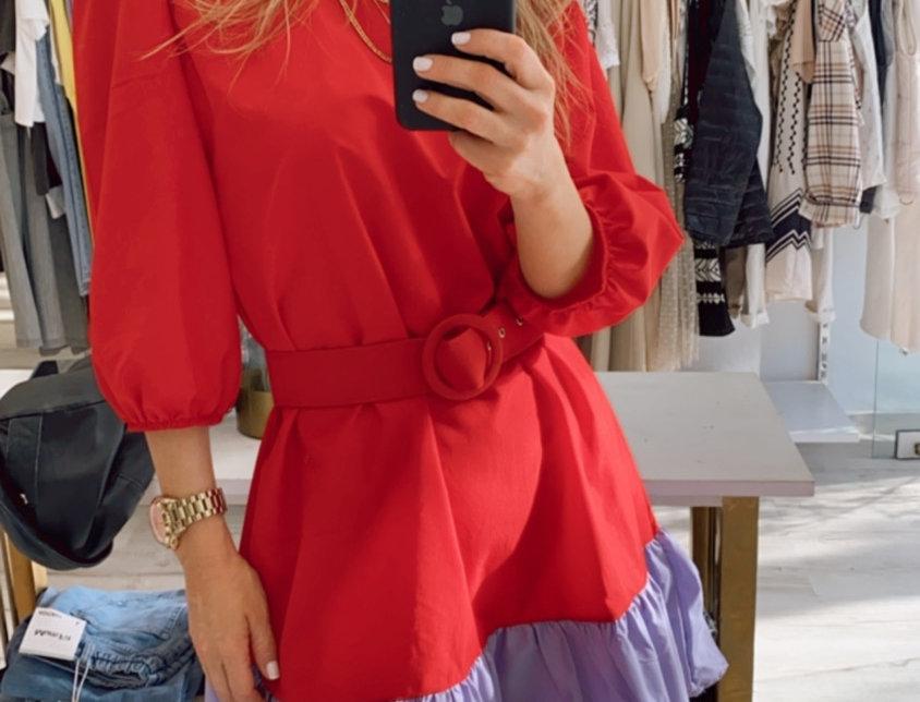 Φόρεμα κόκκινο -μωβ
