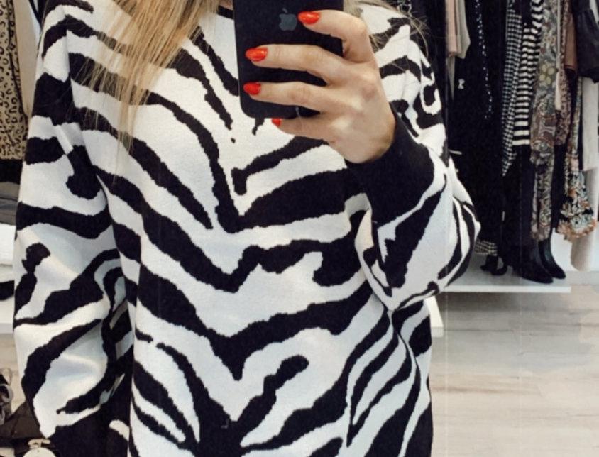 Πουλόβερ zebra άσπρο