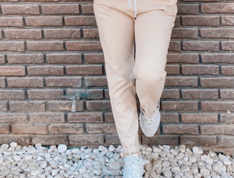 Παντελόνι μπεζ δερμάτινη