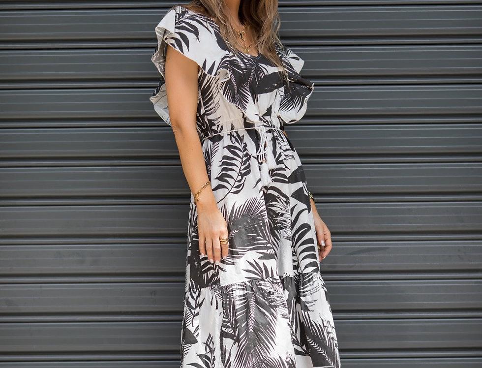 Φόρεμα άσπρο μαύρο με φύλλα