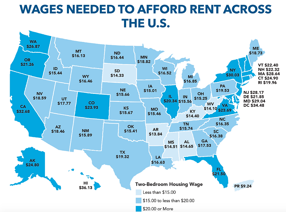 Image showing wages needed to afford rent across the US